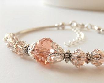 Blush Pink Crystal Bracelet Bridesmaid Jewelry Bridal Party Gift Ideas Silver Filigree Soft Bangle Blush Wedding Beaded Jewelry Adjustable