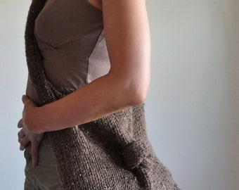 Knit-Knot Bag in brown - designer hand knit UNISEX shoulder bag tote hobo crossbody messenger school bag - eco-fashion CHOOSE your COLOR
