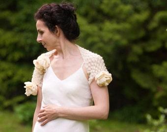 Wedding Bridal Ivory Shrug Hand Knit Bolero Lace Lacy Shrug Tea Roses Luxury Romantic Elegant Bridal Wear Romantic OOAK Off White Ecru