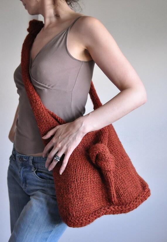 KnitKnot Bag in spice burnt orange - designer hand knit UNISEX shoulder bag hobo bag tote crossbody messenger school bag CHOOSE your COLOR