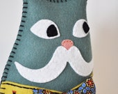 Dapper Cat Plush with mustache - Monsieur Chat - teal mellow yellow felt, vintage silk tie, embroidery - As Seen in Stuffed magazine OOAK