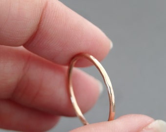 Rose Gold Ring Thumb Ring hammered stack ring choose your size