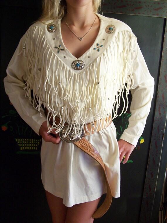 Western Fringe Tunic Concho Amp Turquoise Long Sleeve T Shirt