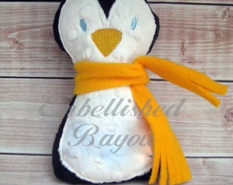Personalized Stuffed Penguin Toy Soft and Plush for Baby or Dog