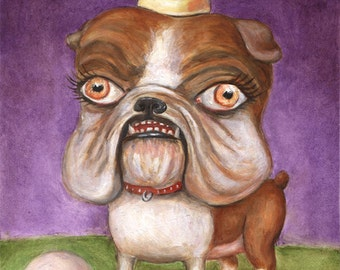 English Bulldog Art Print, Big Eye Art, Lowbrow Art, Pop Surrealism, Dog Art Print, Bulldog Portrait, Matted Print