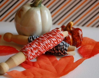 40 Yards Halloween Twine Bundle -- 20 Yards Each Color --  Mandarin and Charcoal -- Ready to Ship