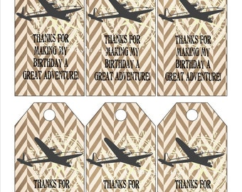 INSTANT DOWNLOAD Airplane Favor Tags PDF Adventure Party