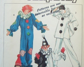 Men's Clown Costume Vintage Simplicity 7649 Sewing Pattern SALE , Pierrot Clown Costume Halloween Wardrobe, Theatrical Costuming CUT Pattern
