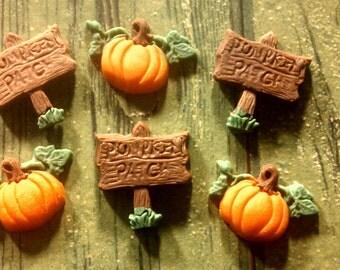 "Edible Fondant ""Pumpkin Patch"" Set- Cake/Cupcake Toppers-Set of 12"