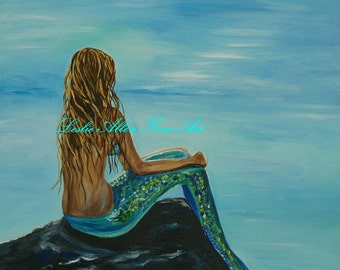"Mermaid Art Print Giclee Mermaids Painting Print Ocean ""Beautiful Magic Mermaid"" Fantasy Art Seascape Mermaid Tail Leslie Allen Fine Art"