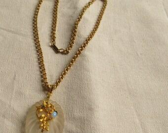 Vintage Hobe Gold Necklace Large Pendant