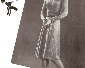 1940's Frock / Dress Vintage Knitted Pattern 307