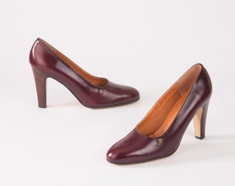 Vintage Etienne Aigner Oxblood Shoes: 1980s Leather Designer High Heels, Deadstock NOS, Secretary, Autumn Fall Back to School