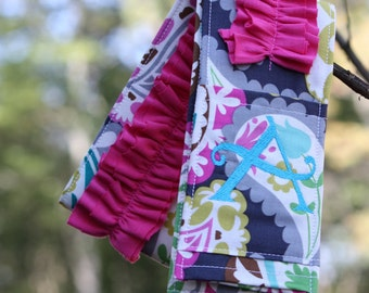 Monogrammed Ruffled Camera Strap Cover - Paisley/ Pink