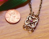 Upcycled Vintage Filigree Charm Necklace - Cross Pattern with Red Crystal Accent