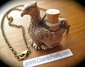 Griffin Necklace Gargoyle Necklace Rustic Brown Stoneware Necklace Small Bottle Necklace Urn Necklace Holds Essential Oils