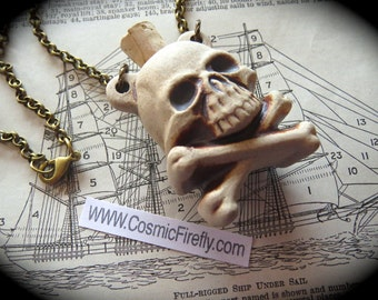 Sale Skull Necklace Small Skull Bottle Necklace Ceramic Stoneware Skull & Crossbones Pirate Necklace