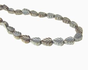 Glass Leaf Bead Gray Brown 1 Strand Jewelry Supply beads Leaf Leaves Leaf Bead Jewelry #119