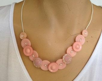 Vintage button necklace, pink vintage buttons.