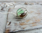 Chocolate Mint Sea Glass Necklace Stainless Steel or Sterling Silver Chain, Cage Locket, Mermaid Tears, Beach Necklace Seafoam and Brown - BeachCoveJewelry