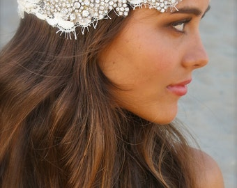Lace and Crystal Bridal Cap- Angie