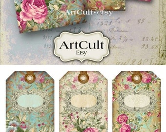 Gift Tags JEWELRY HOLDERS No.10 Digital Collage Sheet Printable download Victorian roses Vintage shabby roses scrapbooking paper Art Cult