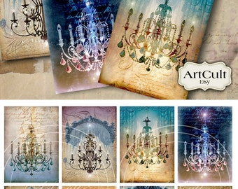 CHANDELIERS - Printable Gift Tags Digital download Collage Sheet Vintage Paper Craft Scrapbooking paper greeting cards Art Cult designs