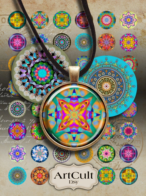 1 inch (25mm) and 1.5 inch size images MANDALAS Digital Collage Sheets Printable download for glass or resin Pendants bezel settings magnets