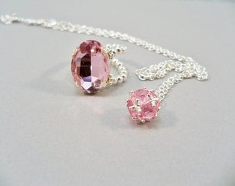 October Birthstone Jewelry Set, Pink Birthstone Necklace and Ring Set,Stretch Band Ring, Handmade Jewelry