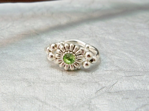 Peridot Crystal Pinky Ring, August Birthstone Ring,Stretch Band Ring, Handmade Ring, Small Ring, Womens Jewelry, Girls Jewelry