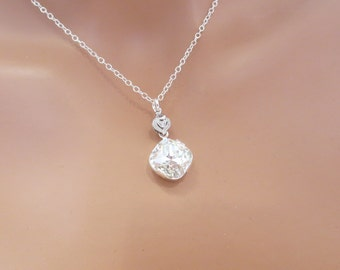 Simple Wedding necklace, Crystal Bridal necklace, Wedding jewelry, Cushion cut crystal necklace, Swarovski necklace, bridesmaid jewelry