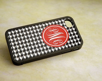 Black Houndstooth with Red Monogram Interchangeable Insert and Bumper, iPhone 5, 5s, 6, 6s