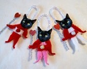 Black Cats Valentine Vintage Style Chenille Ornaments, BLACK CATS (150)