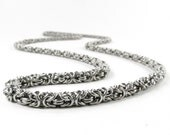 Chainmaille Necklace - Byzantine Pattern Chain - Thin