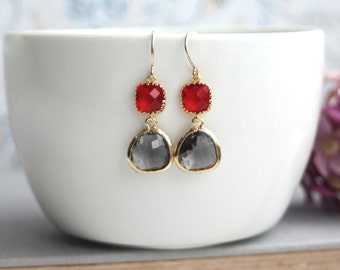 Red Glass Drop and Grey Black Diamond Glass Drop Dangle Earrings. Modern Everyday. Bridesmaids Jewelry. Grey & Red Wedding, Christmas Gift