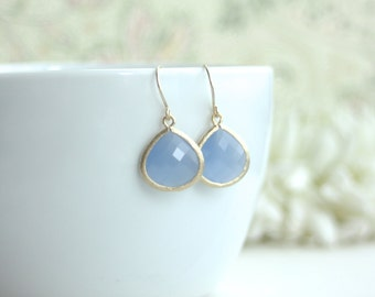 Periwinkle Blue Matte Gold Glass Dangle Earrings. Modern Summer. Spring Pastels, Ice Blue Gold Wedding. Bridesmaids Gift. Bridal Gift. Sis