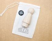 "3.5"" Skirt Peg Doll // Little Wooden People Fair Trade 1 Wooden Doll - Unpainted Blank Wooden Doll"