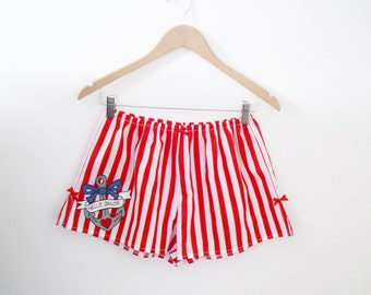 Sailor Pyjama Bottoms, Red Striped Shorts, Tattoo Style Pyjamas, Anchor Boxer Shorts, Nautical Pyjamas, Made To Order in Sizes XS - XXL