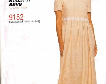 Loose Fitting Pleated Maxi Length Dress McCalls 9152 Stitch n Save Sewing Pattern Size 4, 6, 8, 10, 12, 14 Bust 30.5 31.5 32 34 36 36
