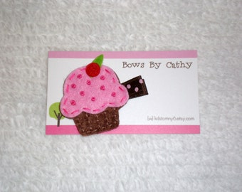 Cupcake Hair Clip - Pink and Brown Felt Cupcake Hair Clip - Birthday Hair Clip - Baby Hair Bow - Toddler Hair Bow
