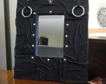 Motorcycle Black Leather Skull Mirror