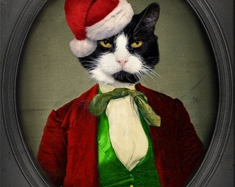 Cat Art Christmas Santa Cat Pet Portrait Animal Photography Cat Lovers Black and White Cat 8x10 PRINT - Puccini goes to a Christmas Party