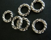 Antique Silver Donuts 20mm (12)