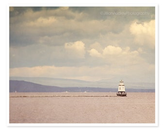 Lighthouse Photograph, Lake Photography, Burlington Vermont Travel Photograph, New England Art, Purple pink dark sky, Moody Landscape
