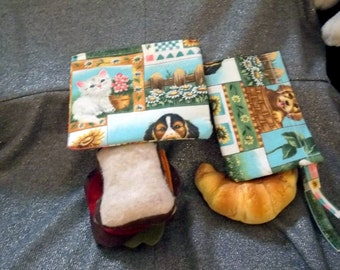 Reusable Sandwich N Snack Bag Set,  Furry Friends Print