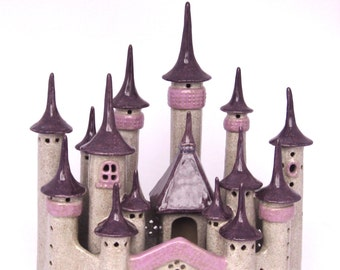 Ceramic Enchanted Fairy Castle Handbuilt  Art Fairy Garden Decoration Gardener Gift Garden Art sculpture woman's gift  home decor