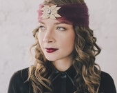 "Retro Faux Turban Holiday head piece with crystals. ""Blackberry Pie"" Color."