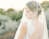 "Gold floral hair wreath veil with pearls ""Callan"""