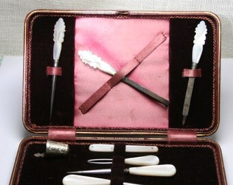 Antique Sewing Travel Kit in Burgundy Case and Velvet with Mother of Pearl Tools