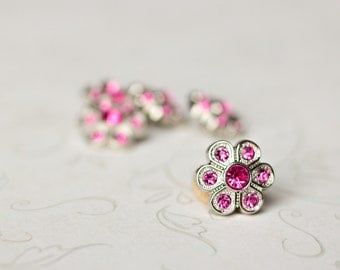 5 Hot Pink Rhinestone Buttons - Hot Pink Flower Button - Christine Button - 14mm - Plastic Buttons - Acrylic Buttons